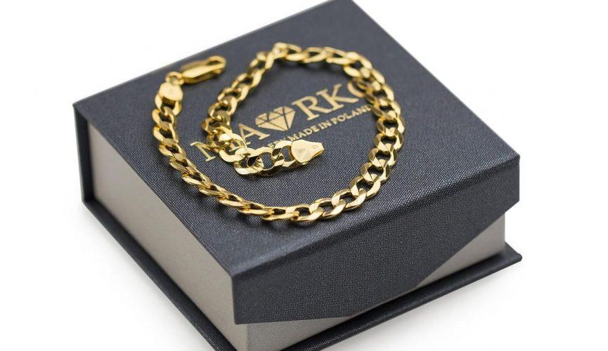 szeroka bransoletka męska złota